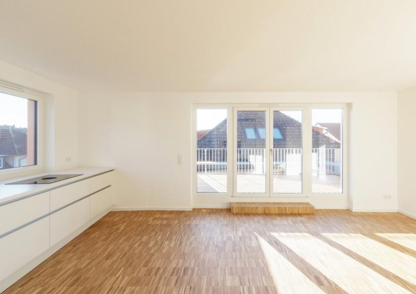 Loftwohnung - Blick auf die Dachterrasse im Westen