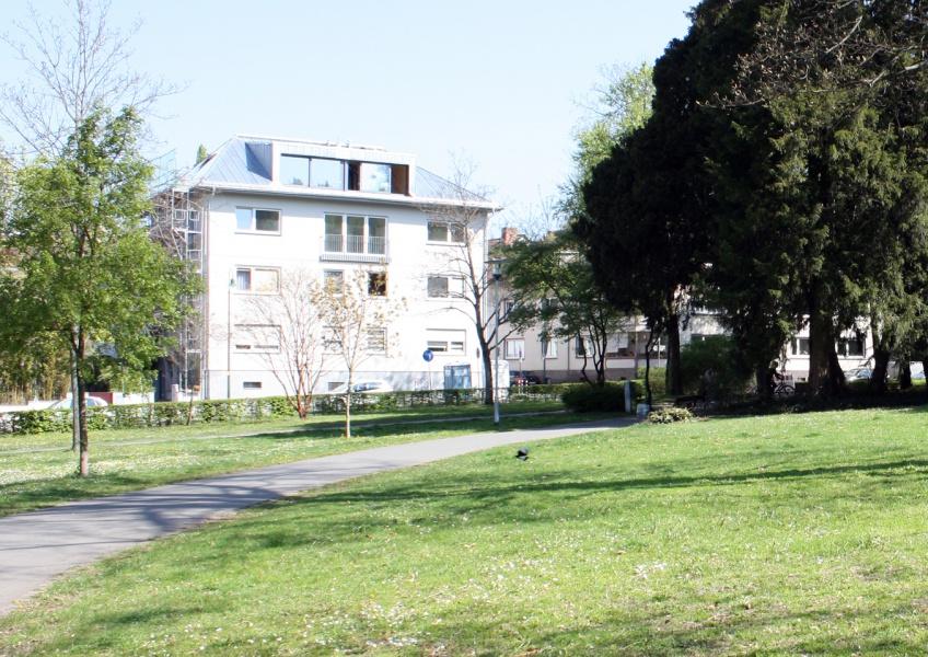 Parkansicht Aufstockung Mehrfamilienhaus Darmstadt
